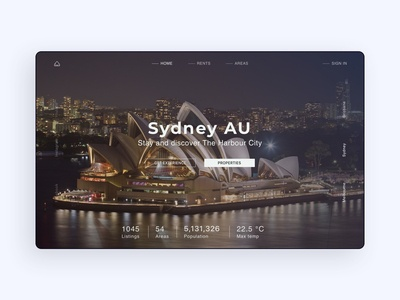UI design of landing page for Australian Properties