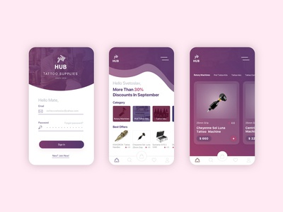 HUB / UX design of IOS application