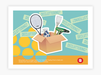 Direct Mail Postcard Design - Decluttering? technology store postcard poster illustrator startup marketing startup graphic design illustration marketing advertising flyer collateral direct mail print tech