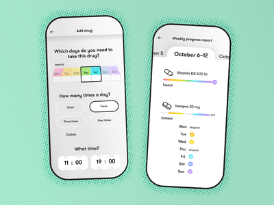 Pill Reminder App UI Part 2 ui  ux ui design colorful tech design dailyui application app design design tech graphic design illustrations illustrator illustration color app medical