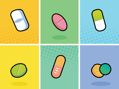 Tech Illustrations - Pill Reminder App tech design medical illustration medical design app ui app icon digital art dailyui application app design design tech graphic design illustrations illustrator illustration color app medical