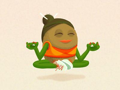 Ad Illustration - Yogi Kiwi Character kiwi graphic designer product healthy advertising illustration advertising campaign advertising design ad design advertising graphic design illustrations illustrator illustration color yogi yoga health fruit character character design