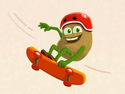 Ad Illustration - Skateboarding Kiwi Character ad illustration food illustration skateboarding healthy graphic designer kiwi advertising campaign advertising design digital art advertising ad graphic design illustrations illustrator illustration color health fruit character character design
