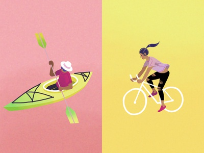 Kayaker and cyclist map digital illustration travel bike cyclist characters