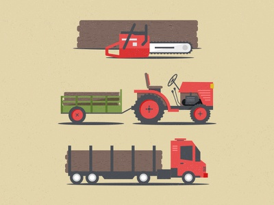 Late debut truck illustration farm wood tractor chainsaw woodcut