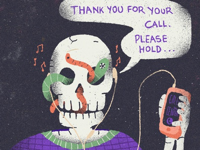 July / 001 worms skull call center call illustration