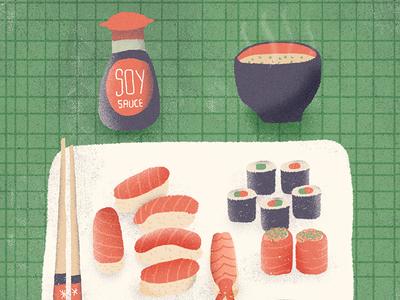 July / 002 soy sauce miso soup sushi illustration