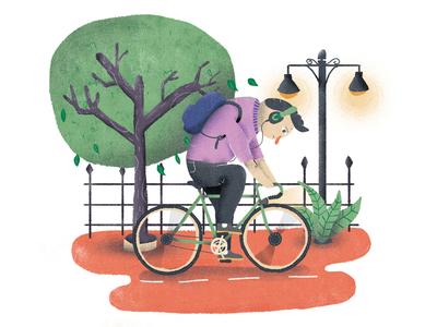 July / 003 city bike ride bike illustration