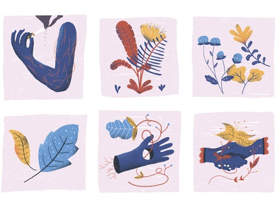 July / 005: arms, veins and plants leafs flower plants veins arms illustration