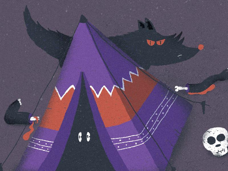 July / 006: camping dead people afraid skull wolf camping illustration