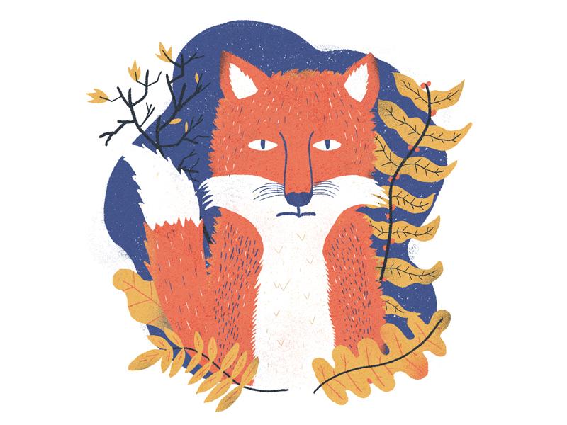 Blue Sequels / August / 008: Fox yellow orange blue leaf plants fox illustration blue sequels