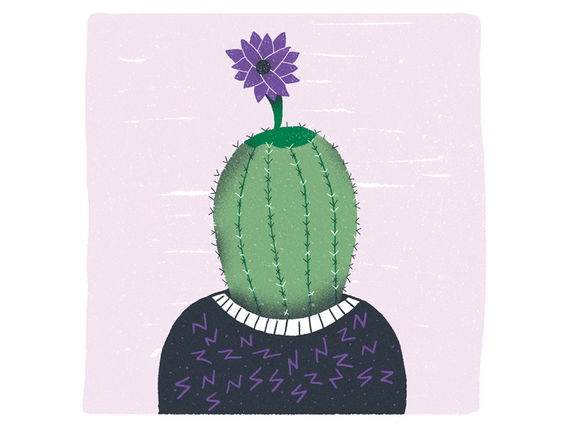 Blue Sequels - August / 010: Cactus flower cactus character design character blue sequels illustration
