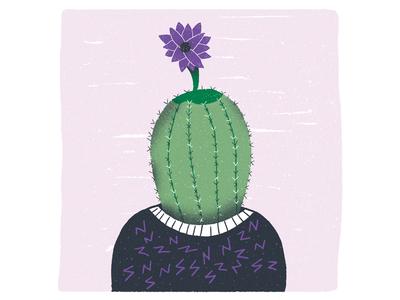 Blue Sequels - August / 010: Cactus flower cactus character design character blue sequels illustration