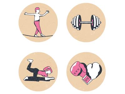 Icons slackline boxing yoga workout icon icons illustration
