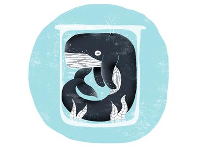 Blue Sequels / 015: Whale whale character illustration blue sequels