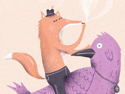 The fox and the bird character design character bird fox illustration