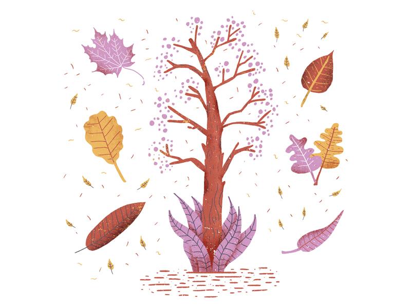 Fall leaf plants autumn fall illustrator illustration blue sequels