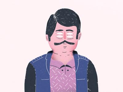 Four eyes jacket four eyes moustache mustache illustration character design character