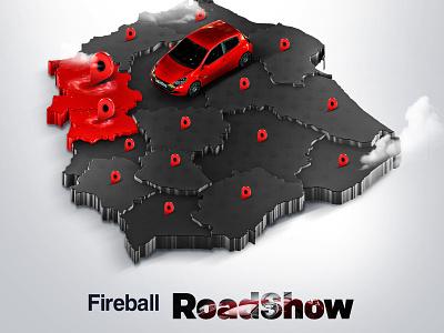 Fireball RoadShow pin 3d map cartoon car cosmetic