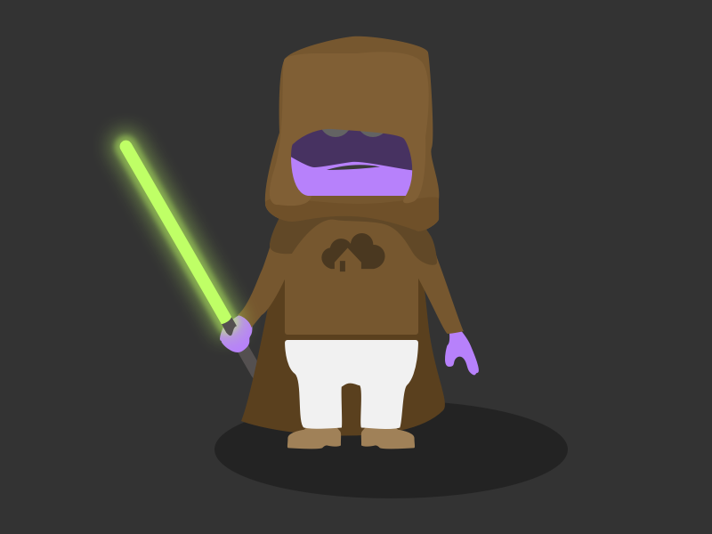 homee the Jedi light saber homee character avatar illustration star wars jedi