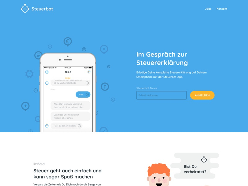 Steuerbot Website (tax chatbot) by Katharina Clasen on Dribbble