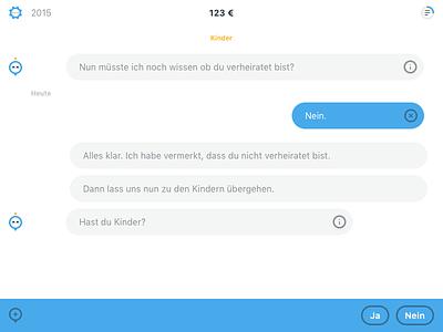 Steuerbot App (tax chatbot) chat chat ui flat design uxdesign ux conversational ui chatbot app screendesign interfacedesign ui ui design