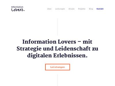 Information Lovers Website typography freelancing freelancer portfolio ux design ux ui design ui webdesign website