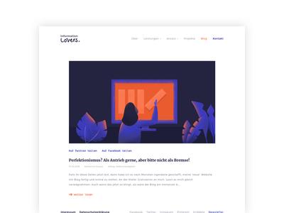 Information Lovers Blog illustration website interfacedesign screendesign flat design ui webdesign ux design ui design