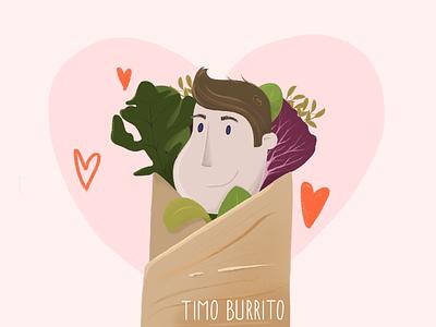 Timo Burrito salad pink cute character burrito digitalillustration procreate illustration