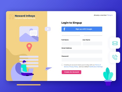 Create an Account page design for Marketing Tool create startup website services marketing website website design register page register form create account sign up screen sign up ui sign up form register sign up create an account