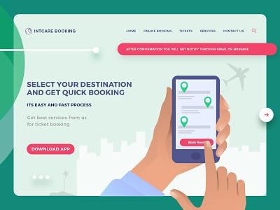 Website Design for Online Service Booking booking website booking app online store online tickets travel website concept website design online service website