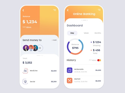 App design for Online Banking freelancer hire illustration ui ux design app design online payments payment transferred online bank online payment online store online banking