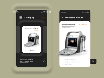 eCommerce mobile app design for Healthcare Products