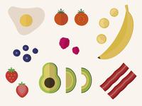 Food illustrations vector bacon strawberry egg banana avocado food illustraion iconography icon set icon