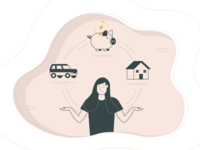 Savings/banking illustration icon icons home bank money coins car house illustraion woman girl piggy bank pig finance banking savings