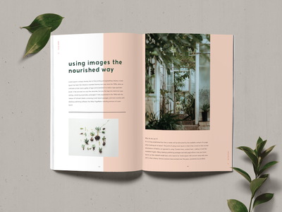 Editorial Double Page Spread pink plants sans serif simplistic minimal editorial spread double page spread editorial journal magazine editorial design