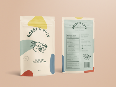Robby's Nuts Packaging logo stamp crest clean simplistic pastel illustration custom type packaging cashews pistachios nuts