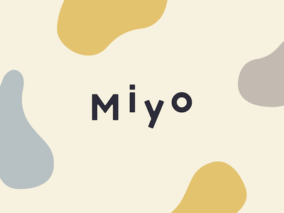 Miyo blue yellow pattern blobs curves packaging website pastel logo branding