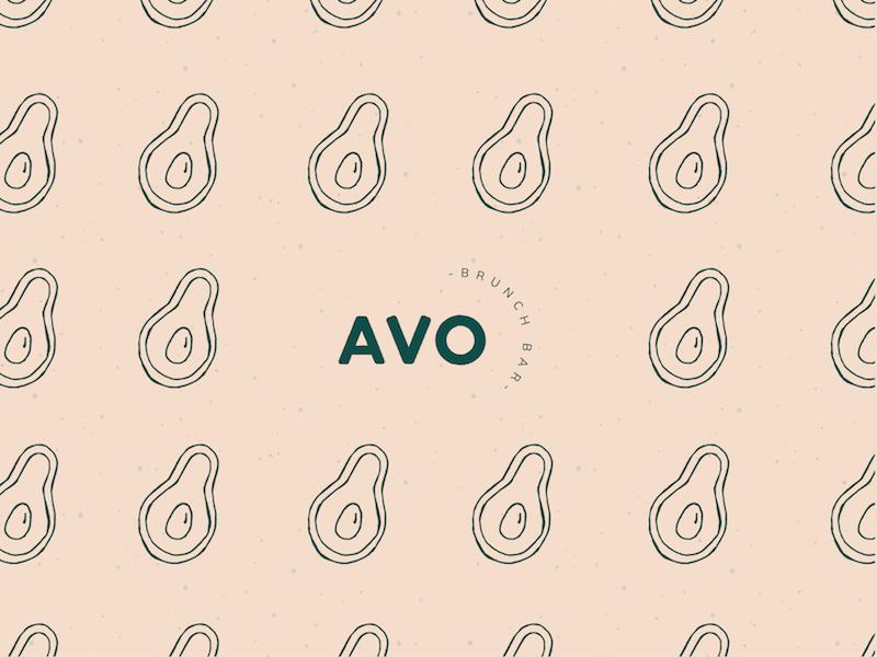 Avocado Brunch Bar Branding logo vector graphic design avocados food bar brunch playful illustration pink business cards branding brand avocado