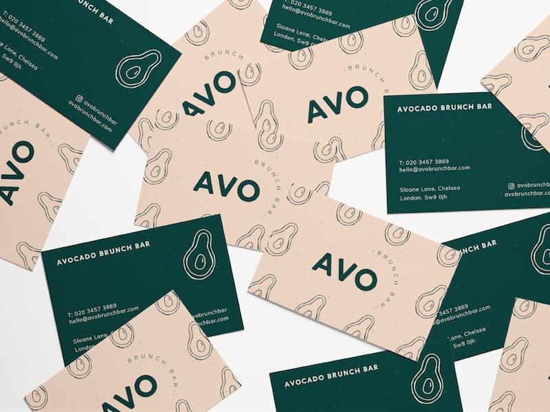 Avo Brunch Bar Business Cards graphic design avocados food brunch pastel pink business cards illustration branding brand logo avocado