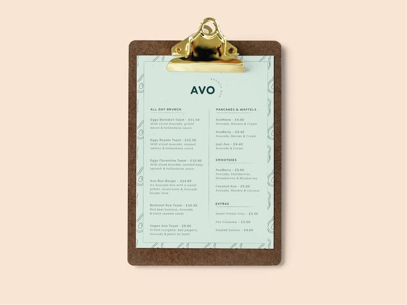 Avo Brunch Bar Menu graphic design avocados food brunch pastel pink business cards illustration branding brand logo avocado