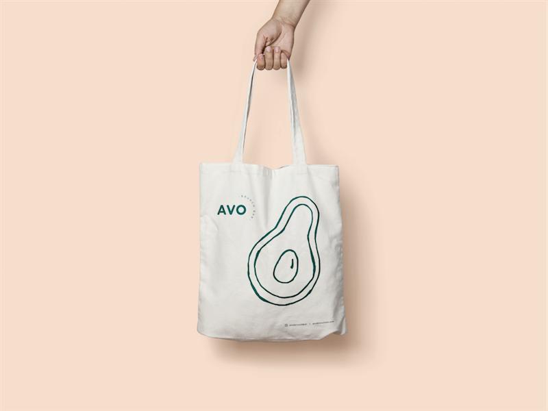 Avocado Tote Bag graphic design avocados food brunch pastel pink business cards illustration branding brand logo avocado