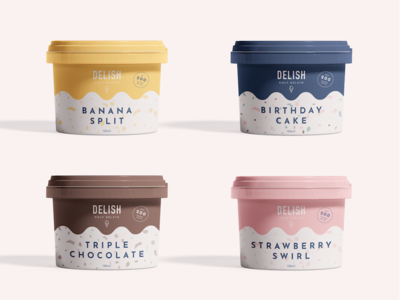 Gelato Packaging illustration pattern banana strawberry identity icon tub logo ice cream brand branding gelato