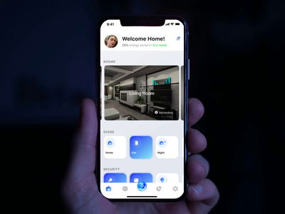 Smart Home App ai assistant voice camera settings wizard widget react native ios 12 controller exploration motion video animation security home smart app ux ui