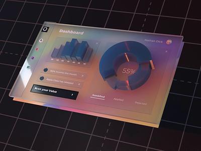 🧐 AR Fluent Dashboard 🧐 augmented 3dui dashboad augmentedreality vr web ux hero bright colors design cinema 4d ui c4d interaction animation 3d