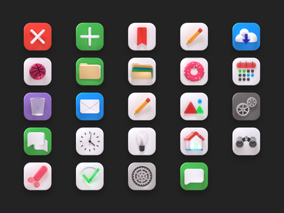 🤤Big Sur Icons Pack 🤤 trends 2020 perspective iconset c4d cinema 4d illustration neumorphism macos interaction ui free pack icons big sur animation 3d