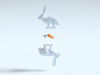 Rabbits 🥕 light simple rabbits illustration design c4d interaction animation 3d