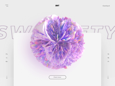 🦄Mi Corali 🦄 ae cinema 4d music grayscale white rose coloristic lightning abstract hero sweet purple bright colors design ui c4d interaction animation 3d