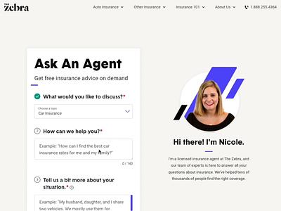 Ask An Agent content strategy information modal ux form design help design ui form car insurance zebra