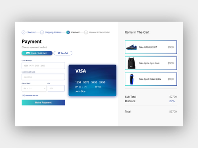 Payment screen checkout e-commerce payment user interface ui design ui